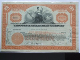 WISCONSIN INVESTMENT COMPANY 100 SHARES SHARE CERTIFICATE 1968 - Bank & Insurance