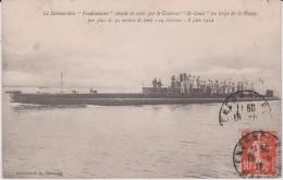 Bateaux , Cherbourg :  Le  Submersible  ,  Sous  Marin  Au Large De  La  Hague - Krieg