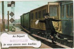 Trein, Train, Fantasy, Au Départ De Bruxelles Je Vous Envoye Mes Amitiés  (pk30370) - Trains