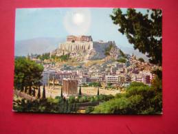 CPM GRECE ATHENES LE TEMPLE DE JUPITER OLYMPIEN ET L'ACROPOLE  VOYAGEE 1973  TIMBRE - Grecia