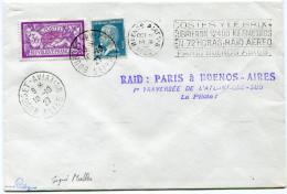 """FRANCE LETTRE PAR AVION DEPART BOURGET - AVIATION 10-10-27 AVEC GRIFFE VIOLETTE """"RAID : PARIS A BUENOS-AIRES 1ère......"""" - Airmail"""