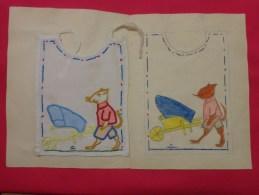 Bavette De Bebe Doublee-(petit Bavoir)- Devoir De Dessin Et De Couture Dans Les Ecoles (souris  Brouette ) - Loisirs Créatifs