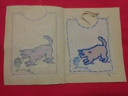 Bavette De Bebe Doublee-(petit Bavoir)- Devoir De Dessin Et De Couture Dans Les Ecoles (chat Pelote De Laine - Loisirs Créatifs