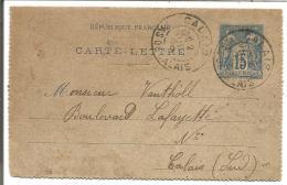ENTIER SAGEDE CALAIS DU 2/7/1898 - Marcophilie (Lettres)