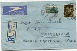 AFRIQUE DU SUD LETTRE RECOMMANDEE PAR AVION CENSUREE DEPART CAPETOWN 21 APR 43 KAAPSTAD POUR L'A. E. F. - Storia Postale