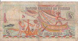 TUNISIE - BILLETS DE 1/2 DINAR + 1 DINAR - 1965 - Tunisie