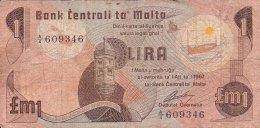 MALTE - BILLET DE 1 POUND - 1967 - Malte