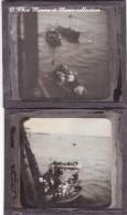 ESPAGNE - MALAGA - DEBARQUEMENT EN MER - CHALOUPES ET PASSAGERS - BATEAU NAVIRE - LOT DE 2 PLAQUES DE VERRE - PHOTO - Plaques De Verre