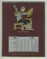 Calendrier 1950 Sur Publicité En Relief La Gerbe D'Or à Paris. Orfèvrerie. - Calendriers