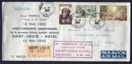 LETTRE RECOMMANDÉE- N°128- 25° ANNIVERSAIRE 1er LIAISON JEAN MERMOZ-  SAINT-LOUIS A NATAL- BRESIL- 2 SCANS - Senegal (1887-1944)