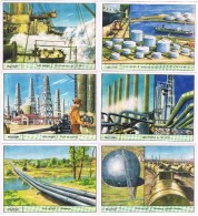 18444. Serie Completa 6 Cromos  GALLICROMO, Serie 14, ORO Negro. Petroleo - Historia