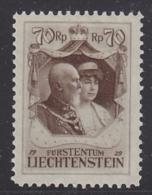 Liechtenstein  1929 Huldigung  Fürst Franz I  70Rp 1v * Mh (mint, Hinged) (30545) - Unused Stamps