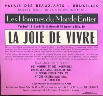 Uitnodiging Invitation Films Ciné Cinema - La Joie De Vivre - Bruxelles 1956 - Non Classés