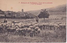 POSTAL DE EL BALNEARIO DE VALLGOGONA CON UN PASTOR CON SU REBAÑO OVEJAS DEL AÑO 1921  (OVEJA-SHEEP) GANADERIA - Animali