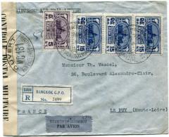 SIAM LETTRE RECOMMANDEE PAR AVION CENSUREE DEPART BANGKOK 28-9-39 POUR LA FRANCE - Siam