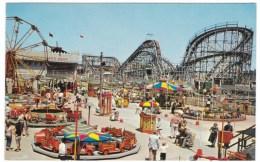 Coney Island Amusement Park New York, Midway Rides Roller Coaster C1960s Vintage Postcard - Brooklyn