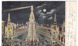 Coney Island Amusement Park New York, Luna Park At Night, C1900s Vintage Postcard - Brooklyn