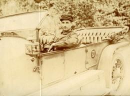 Vie Quotidienne En France Hanriot Pilote Voiture Logo SM Automobile Ancienne Photo Amateur 1900's - Cars