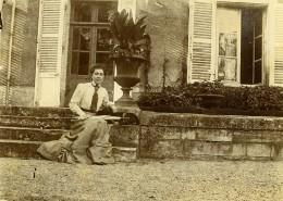 Vie Quotidienne En France Femme Et Son Chien Ancienne Photo Amateur 1900 - Anonymous Persons
