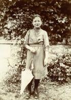 Vie Quotidienne En France Jeune Fille Au Parapluie Ancienne Photo Amateur 1900