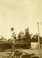 Vie Quotidienne En France Jeu D'enfants Saut Ancienne Photo Amateur 1900
