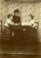 Vie Quotidienne En France Famille Portrait Table Ancienne Photo Amateur 1900 - Anonymous Persons