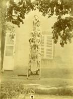 Vie Quotidienne En France Enfants Sur L'Echelle Ancienne Photo Amateur 1900 - Anonymous Persons