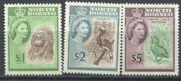 167 BORNEO DU NORD 1961 - Yvert 327/29 - Elizabeth II, Orang Outang Calao Perdrix - Neuf **(MNH) Sans Trace De Charniere - Timbres