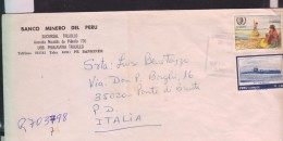 O) 1986 PERU, SUBMARINE 1926  R-1  -NAVY, INTERNATIONAL YEAR OF YOUTH, COVER TO ITALY, XF - Peru