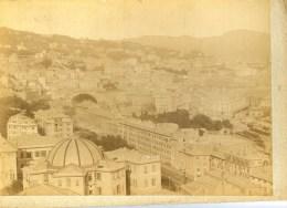 ITALIE GENOVA- Panorama Da S.Rocco Tirage Albuminé Monté Sur Carton Circa 1880 - Lieux