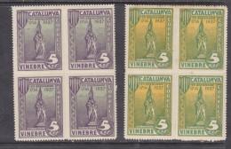 Spain, CATALUNYA VINEBRE, 5 Cts, Blocks Of 4, 2 Colours, Top MH *, Lower MNH** - Vignettes De La Guerre Civile