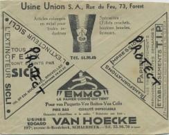 Old Envelope With Publicité: Forest Usine Union Crochets-boutons-boucles// Schaarbeek EMMO Papier - Bruxelles - Entiers Postaux