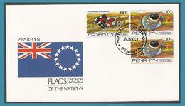Pernhyn 1993 FDC Poissons Drapeau Oblitération Northern Cook Islands - Penrhyn