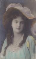 Beautiful Lady W Long Hair And Glamorous Hat Glamour Tinted Photo Postcard 1910 - Women