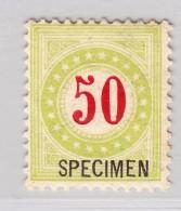 Schweiz Porto 50Rp #P20B II K*  Specimen - Aufdruck IV A - Portomarken
