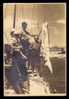 1950 ORIGINAL UNIQUE Vintage Photo Man Fishing Pole Shark Hanging ON BOARD - Photographs