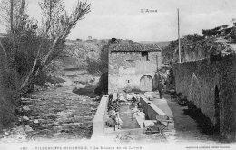 Cpa   11   VILLENEUVE-MINERVOIS----LE MOULIN ET LE LAVOIR---1916 - France