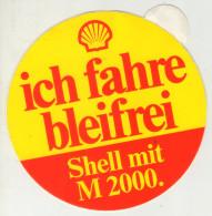 . AUTOCOLLANT .  STICKER . SHELL . ICH FAHRE  BLEIFREI  . SHELL MIT  M 2000 - Autocollants