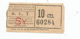 Titre De Transport , R.E.T. , SY , 10 Cts. - Europe
