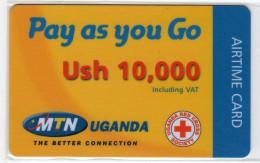 OUGANDA RECHARGE MTN AIRTIME CARD 10,000 USH CROIX ROUGE