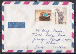 BELGIUM, 1985, Airmail  Cover From Belgium To India, 2 Stamps - Belgien