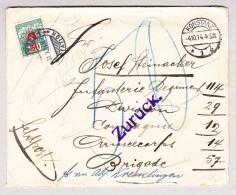 Schweiz Porto 50Rp 30.10.1914 Kreuzlingen Station Taxierter Brief Aus Konstanz Geöffnet Zur Ermittlung Des Absenders - Portomarken