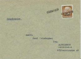 """Elsass, Around 1940, Single Franking Hindenburg Stamp, Cachet Cancel """"CARSPACH"""" - Zone Française"""