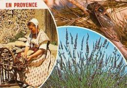 METIER       H90      3 Vues , Scène Au Rouet , Cigale , Lavandes - Agriculture