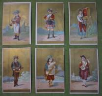 Série Complète De 6 Chromos Dorées Instruments De Musique Des Pays (Allemagne, Ecosse, Suisse, France, Espagne, Italie) - Otros