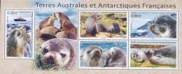 French Antarctic (FSAT), Subantarctic Fur Seal, 2010, MNH VF Souvenir Sheet Of Five - Unused Stamps