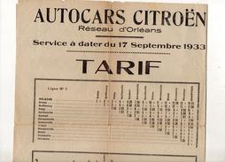 TARIF DES AUTOCARS CITROEN RESEAU D ORLEANS DU 17 SEPTEMBRE 1933 - Transports