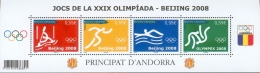 Andorra (French Adm.), 2008 Summer Olympics, Beijing, China, 2008, MNH VF  Souvenir Sheet Of Four - French Andorra
