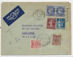 1940 - ENVELOPPE Par AVION De TOULON (VAR) Pour CASBLANCA (MAROC) Avec TAXE - CERES + PAIX + SEMEUSE - Morocco (1891-1956)