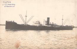 "Carte Photo Bateau Identifié "" Platon ""  Cargo De La Compagnie D'Orbigny La Rochelle - Koopvaardij"
